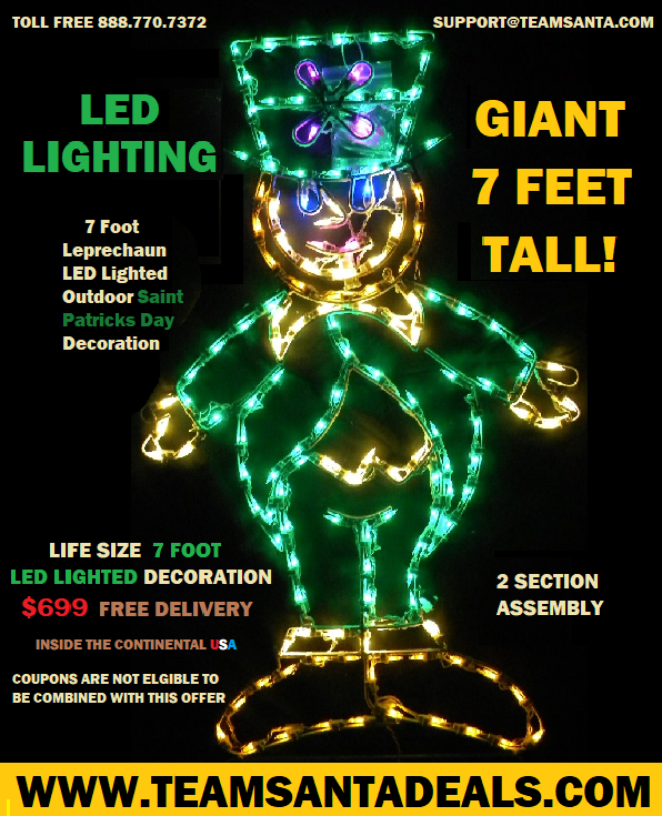 An Indoor Outdoor Lighted Giant Leprechaun With LED Lights That Beam Erin Go Bragh